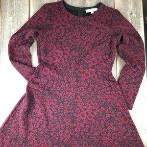 Ann Taylor LOFT Red Black Floral Long Sleeve Sz 6